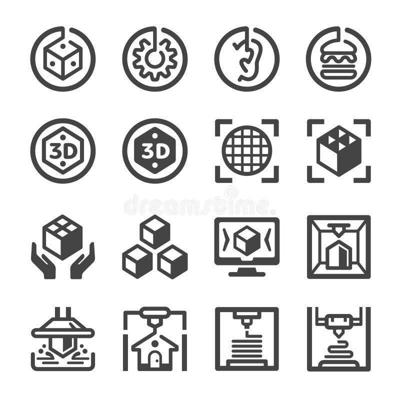 sistema del icono de la impresión 3D ilustración del vector