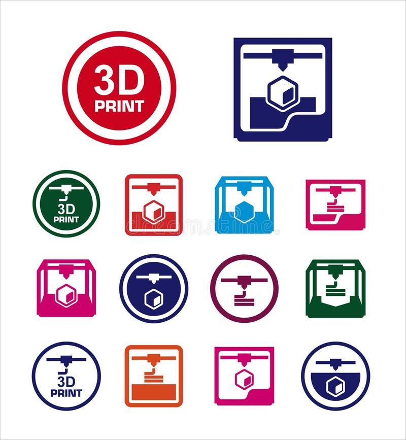 sistema del icono de la impresión 3D stock de ilustración