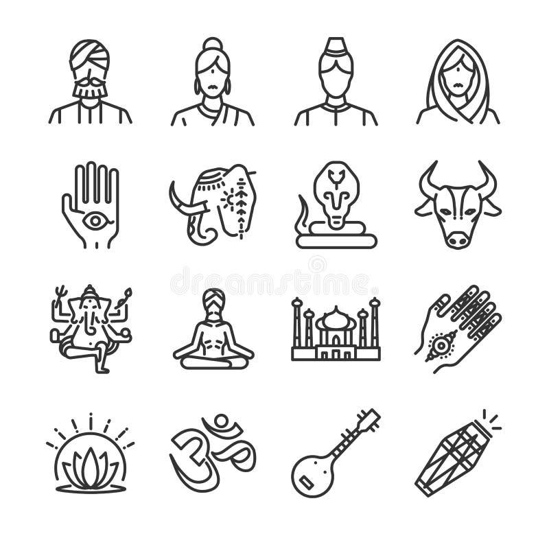 Sistema del icono de la India Incluyó los iconos como indio, hindú, Ganesha, la alheña, la cobra, la vaca y más ilustración del vector