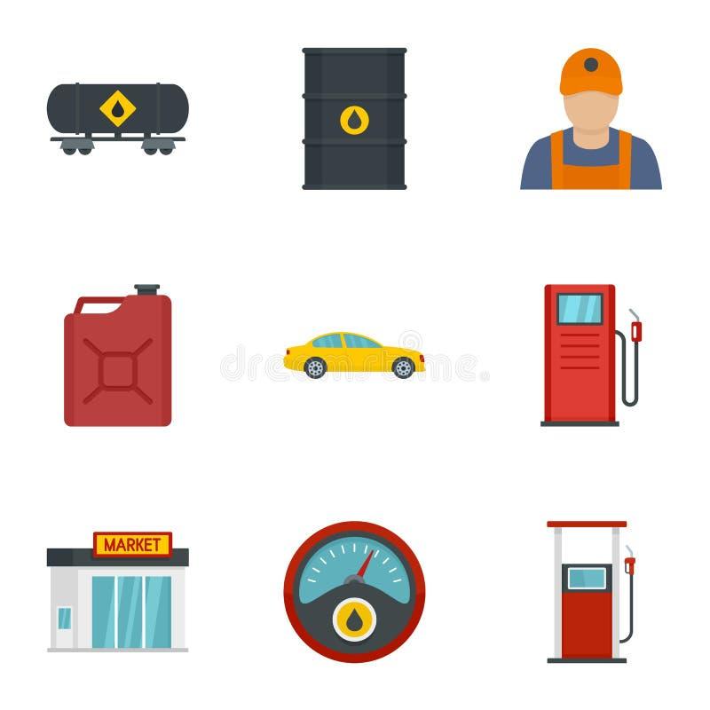 Sistema del icono de la industria de la gasolina, estilo plano libre illustration