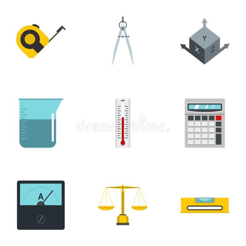 Sistema del icono de la instrumentación de la medida, estilo plano stock de ilustración