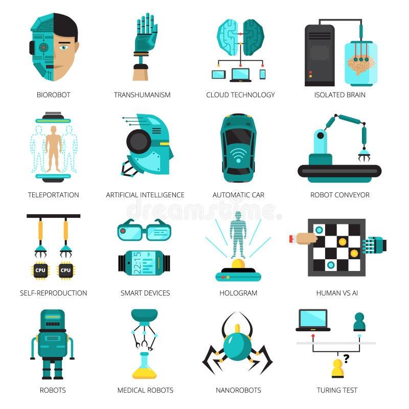 Sistema del icono de la inteligencia artificial stock de ilustración