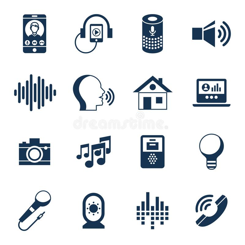 Sistema del icono de la interfaz de usuario de la voz stock de ilustración