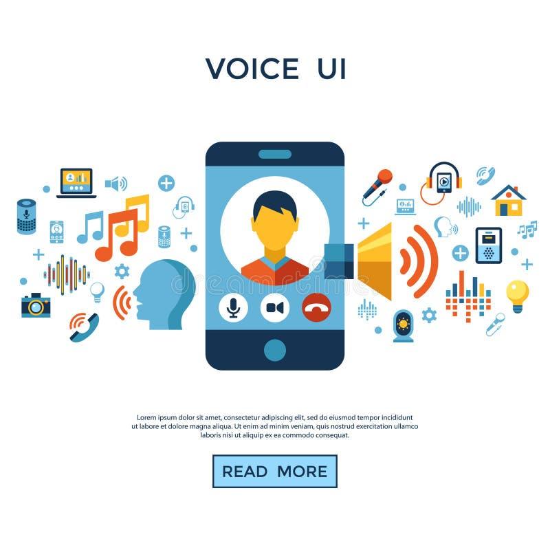 Sistema del icono de la interfaz de usuario de la voz ilustración del vector