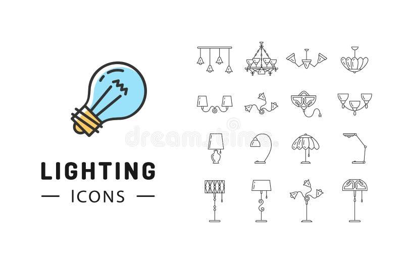 Sistema del icono de la lámpara, encendiendo diseño plano de la tienda, gráficos de la identidad de marca ilustración del vector
