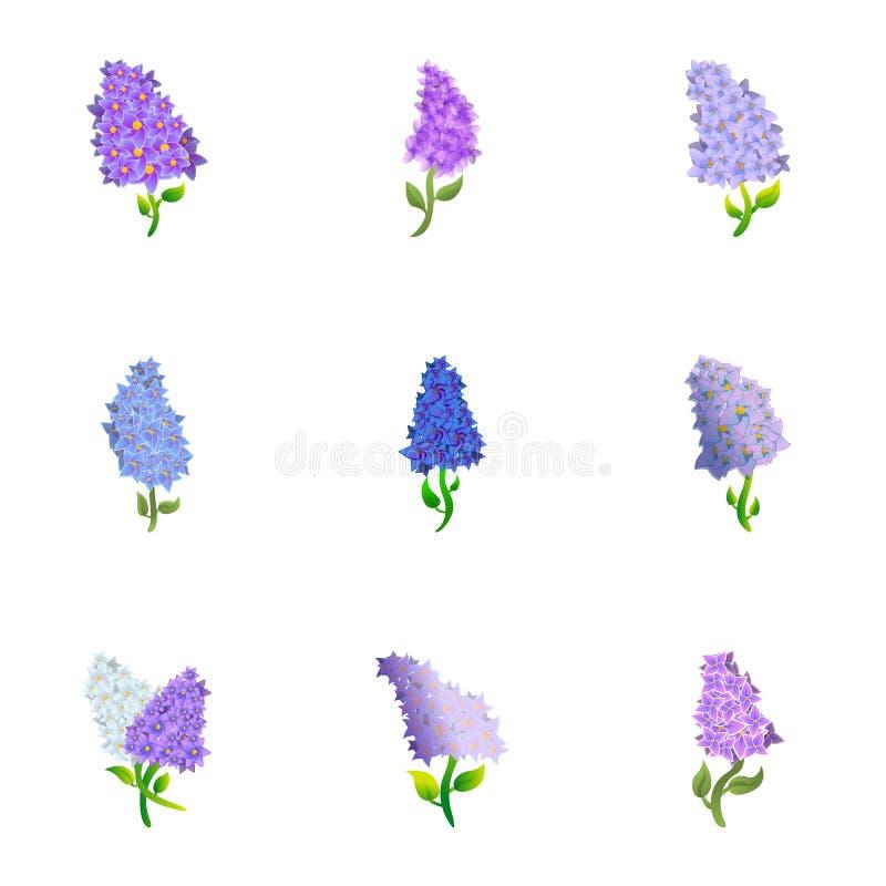 Sistema del icono de la lila, estilo de la historieta libre illustration