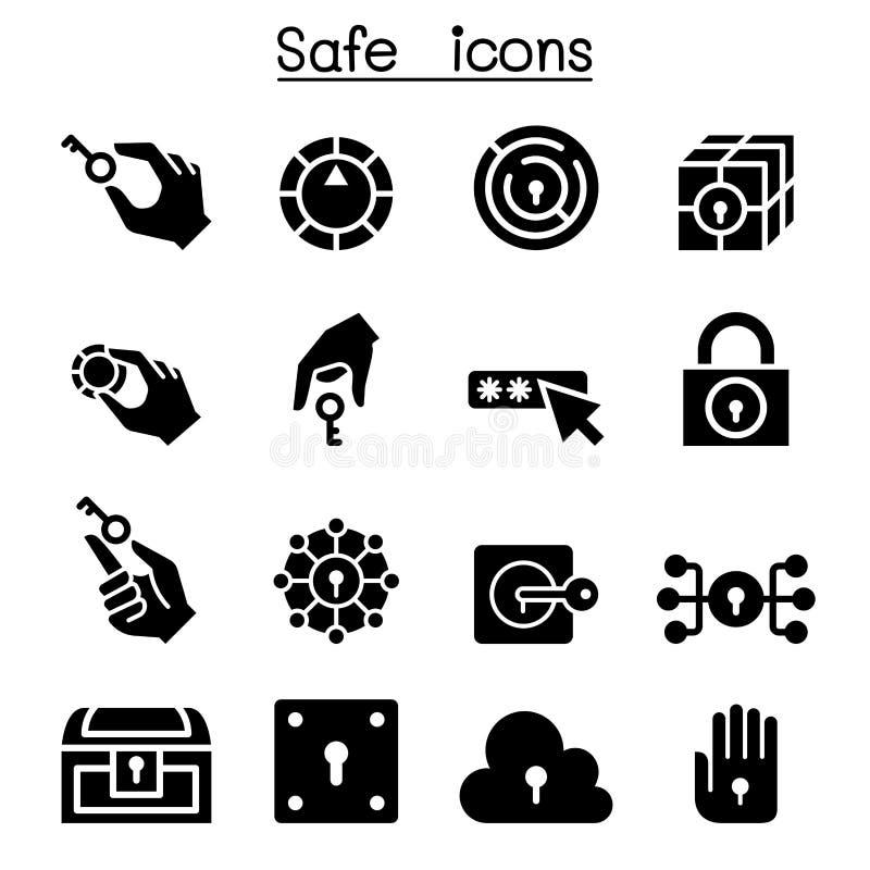 Sistema del icono de la llave y del sistema de la cerradura stock de ilustración