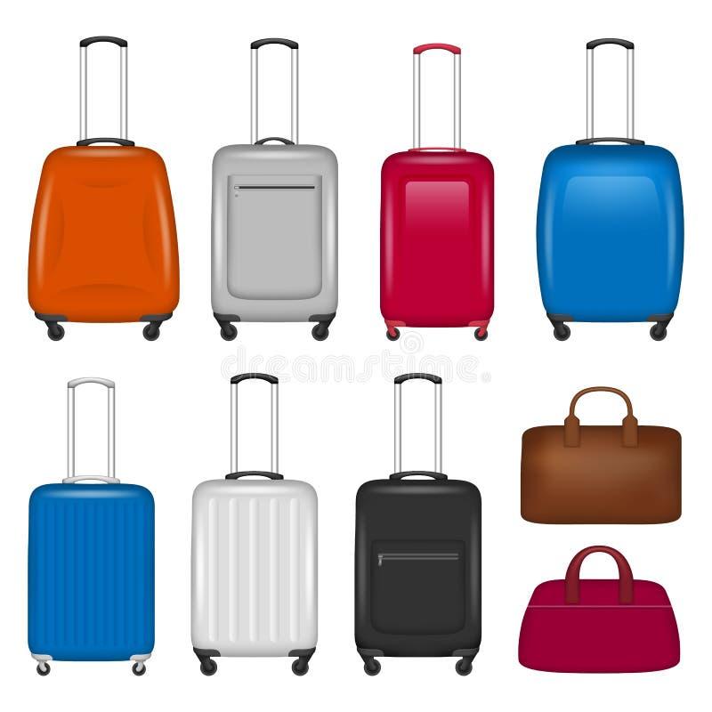 Sistema del icono de la maleta del viaje, estilo realista ilustración del vector