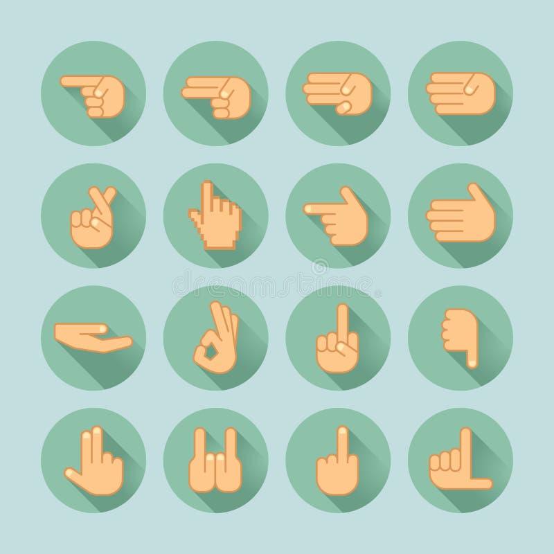 Sistema del icono de la mano ilustración del vector