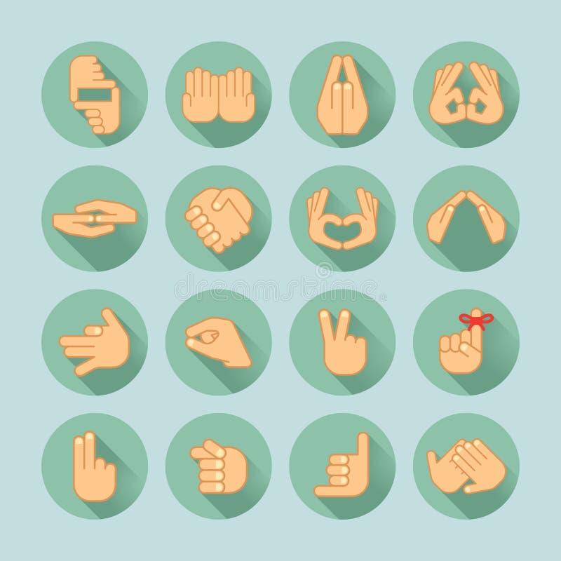 Sistema del icono de la mano stock de ilustración