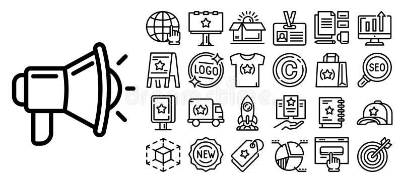Sistema del icono de la marca, estilo del esquema stock de ilustración