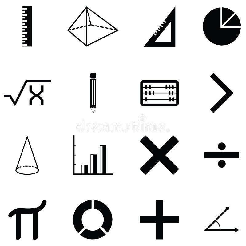 Sistema del icono de la matemáticas stock de ilustración