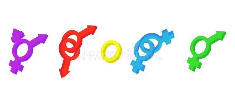 Sistema del icono de la muestra del género, estilo de la historieta stock de ilustración