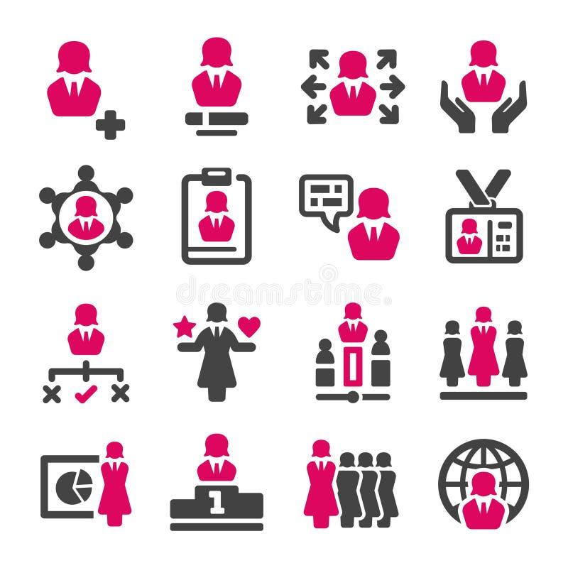 Sistema del icono de la mujer de negocios ilustración del vector