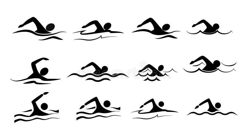 sistema del icono de la nadada ilustración del vector