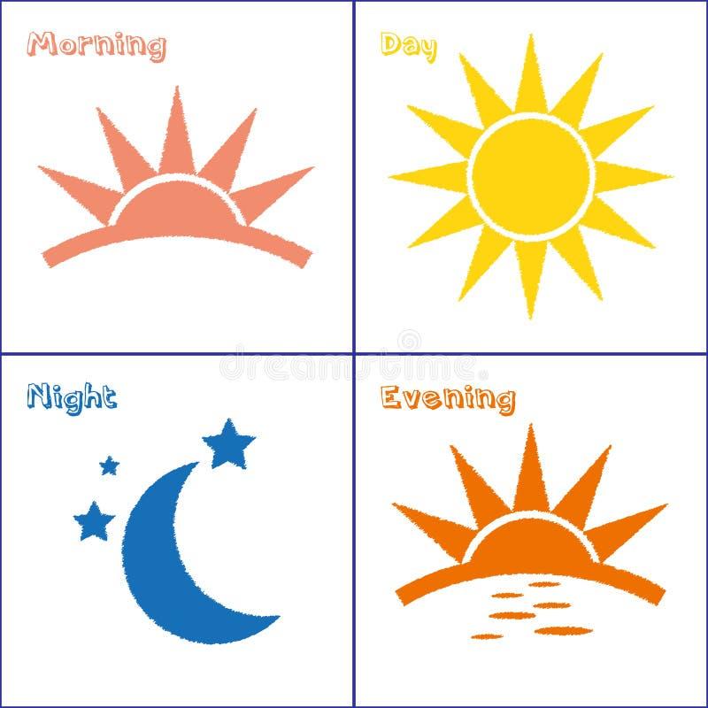 Sistema del icono de la noche de la tarde del día de la mañana ilustración del vector