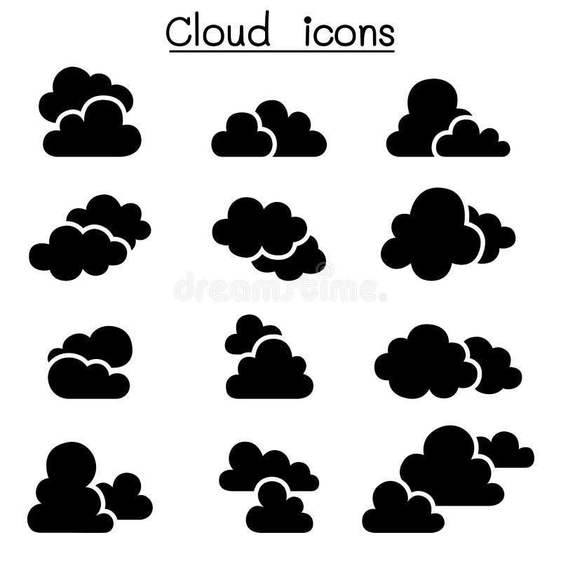 Sistema del icono de la nube stock de ilustración