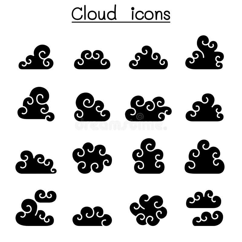 Sistema del icono de la nube del rizo stock de ilustración