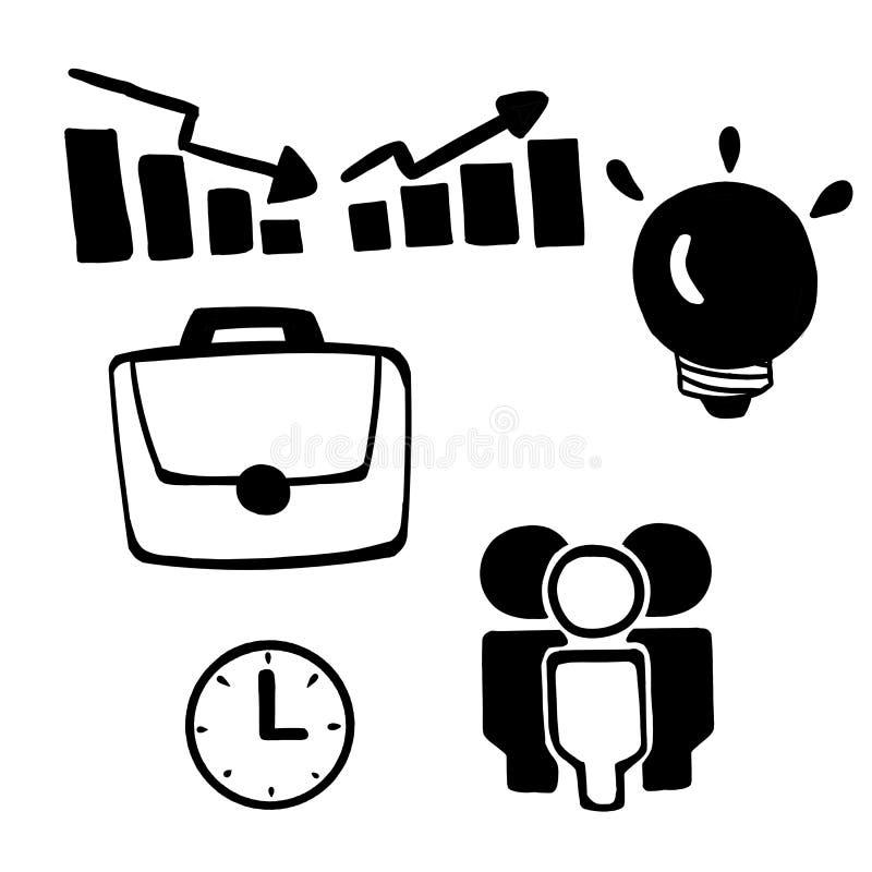 Sistema del icono de la oficina del garabato fotografía de archivo libre de regalías