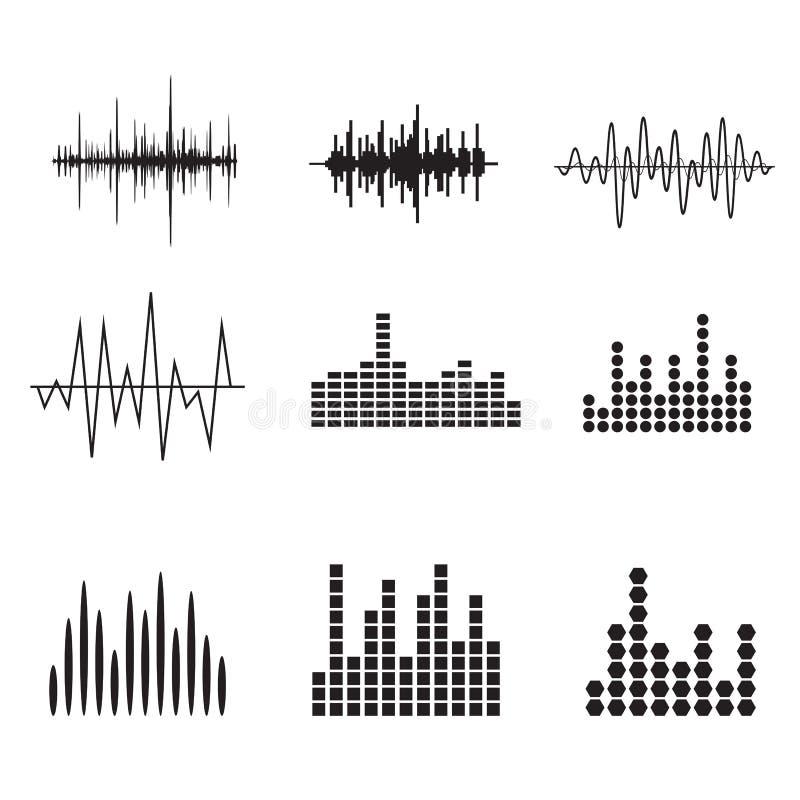 Sistema del icono de la onda acústica Iconos de soundwave de la música fijados Iguale el audio a ilustración del vector