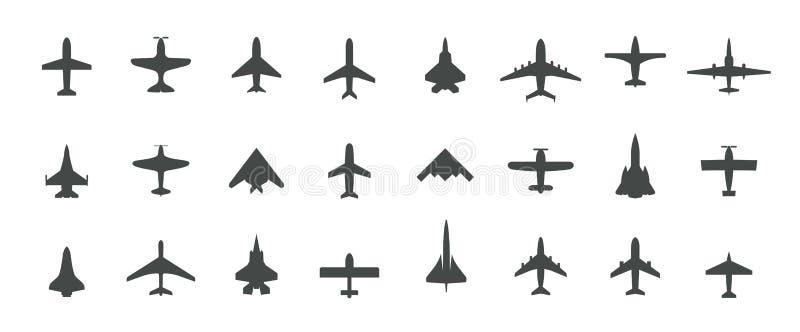 Sistema del icono de la opinión superior de los aviones Fije de los aeroplanos negros de la silueta, de los jets, de los aviones  libre illustration