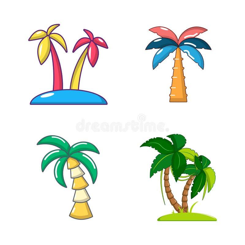 Sistema del icono de la palmera, estilo de la historieta stock de ilustración