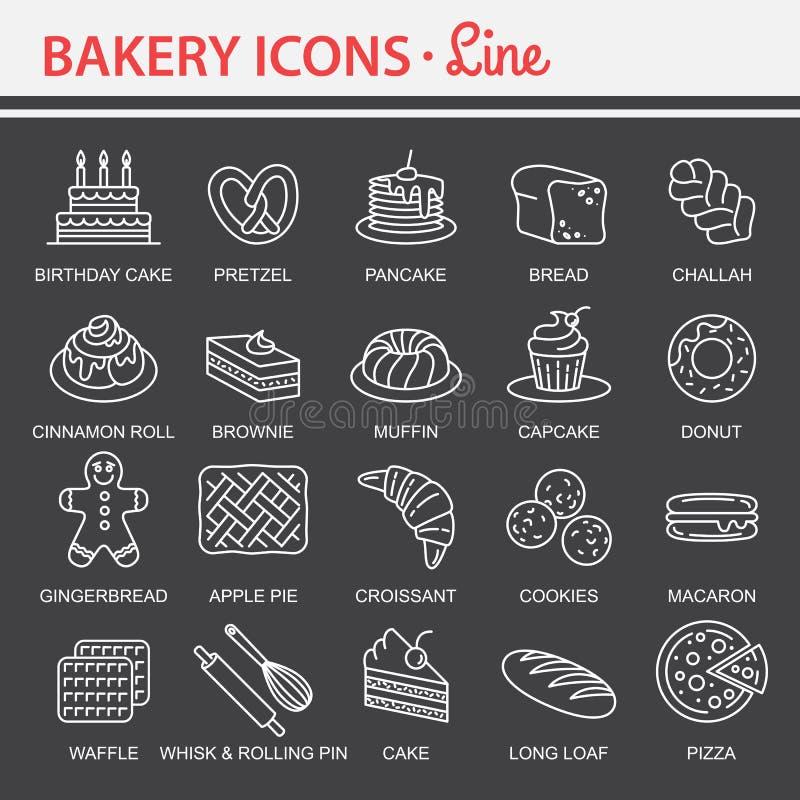 Sistema del icono de la panadería ilustración del vector