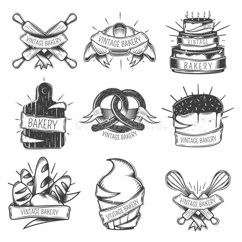Sistema del icono de la panadería del vintage libre illustration