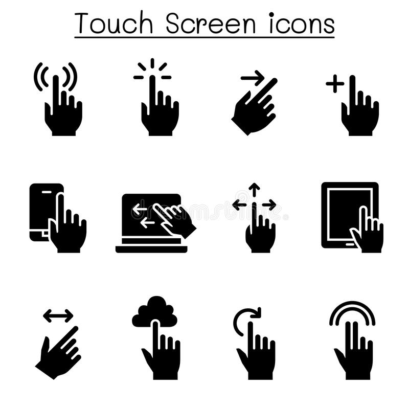 Sistema del icono de la pantalla táctil ilustración del vector