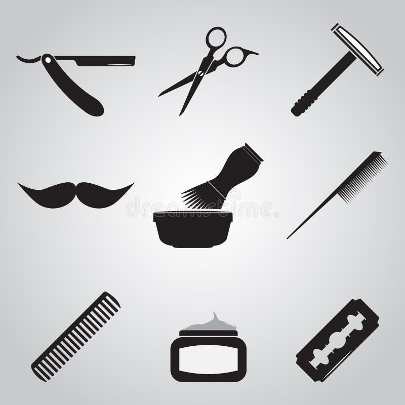 Sistema del icono de la peluquería de caballeros y de la peluquería stock de ilustración