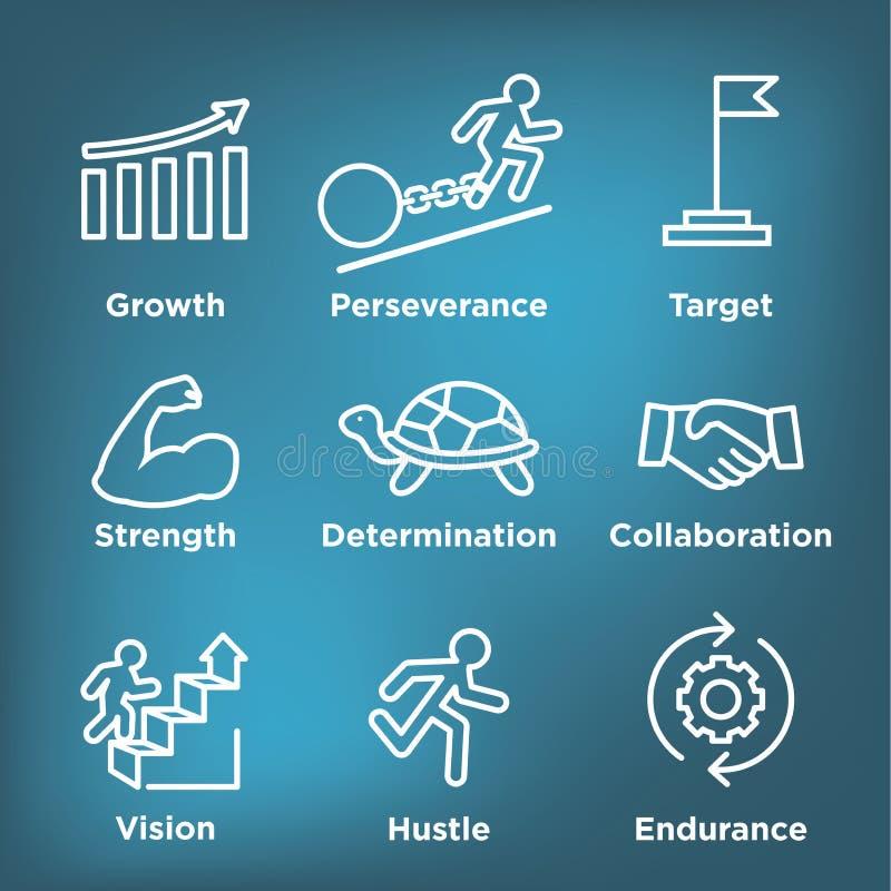 Sistema del icono de la persistencia con imagen de la motivación y de la impulsión extremas stock de ilustración