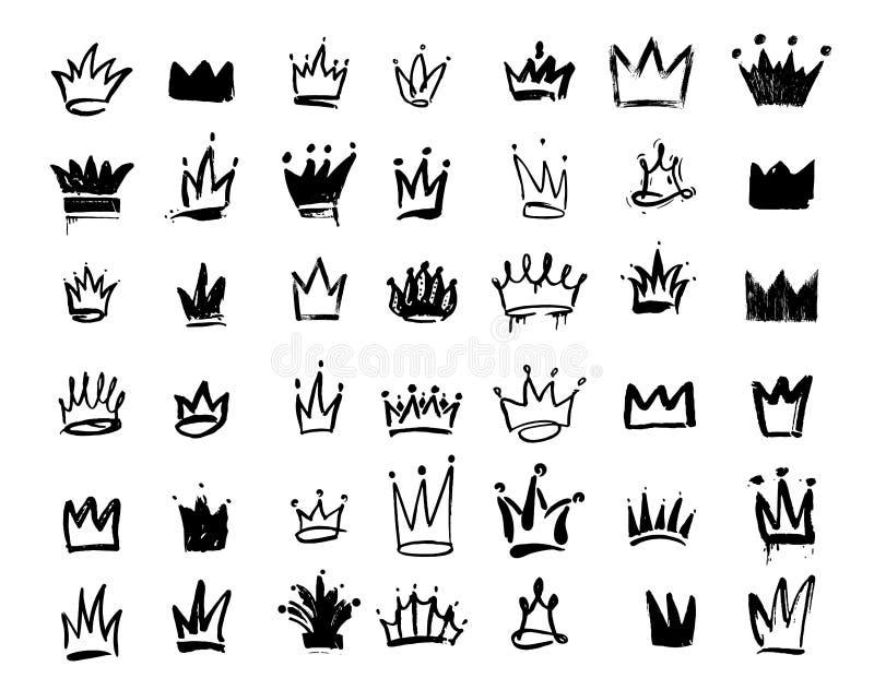 Sistema del icono de la pintada del logotipo de la corona Dibujo a mano de elementos negros Ilustración del vector Aislado en el  libre illustration