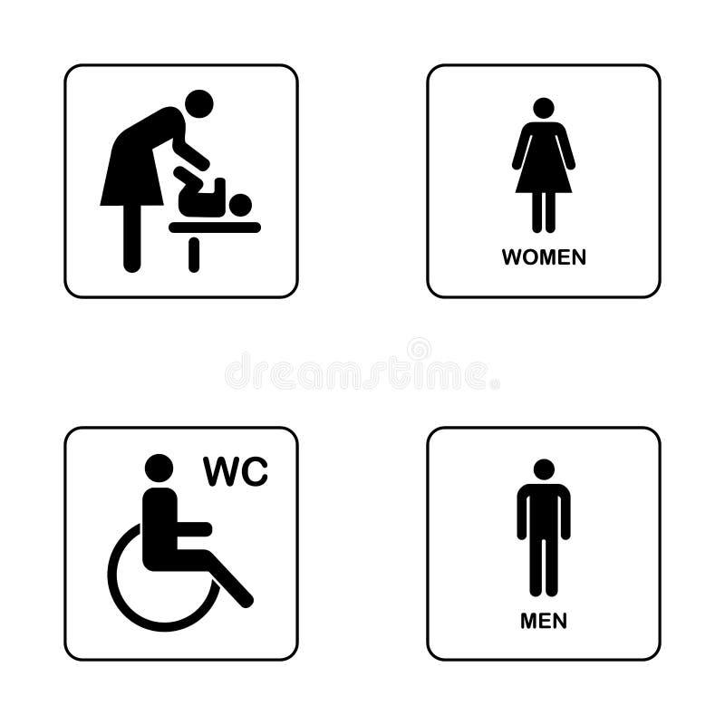 Sistema del icono de la placa de la puerta del WC/del retrete ilustración del vector
