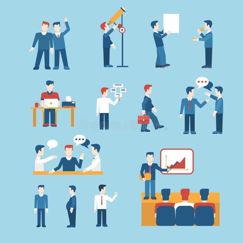 Sistema del icono de la plantilla del web de la situación del hombre de negocios de los iconos de la gente ilustración del vector