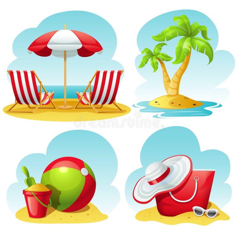 Sistema del icono de la playa stock de ilustración