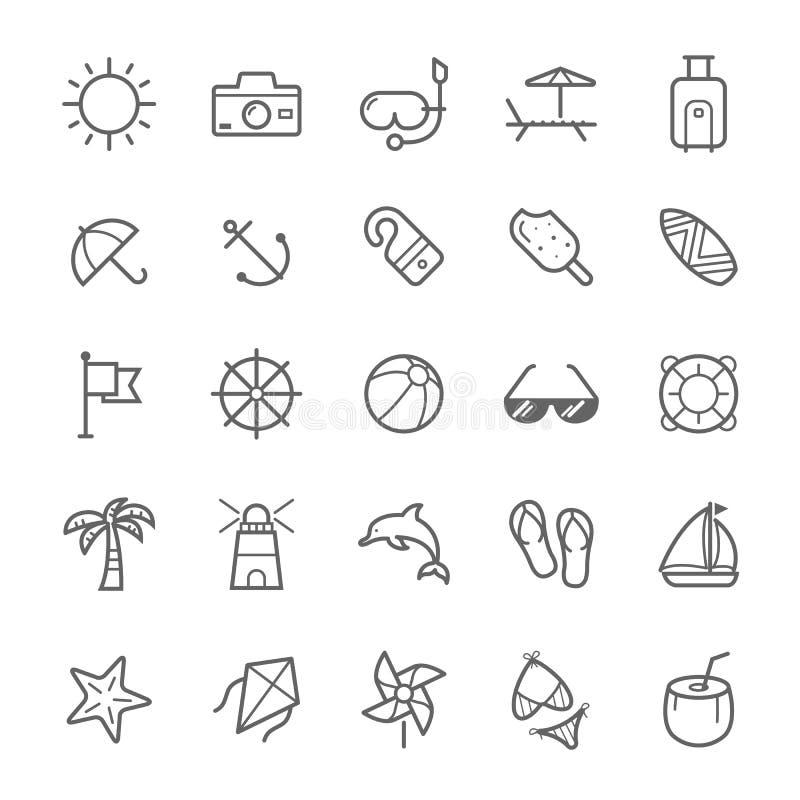 Sistema del icono de la playa del movimiento del esquema libre illustration