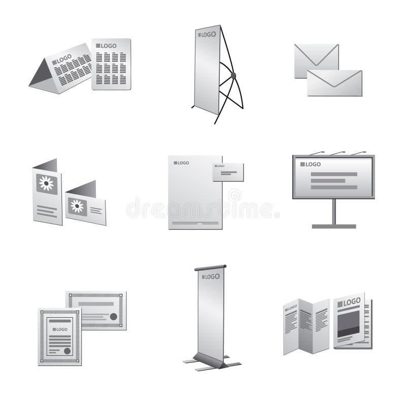 Sistema del icono de la publicidad de la impresión stock de ilustración