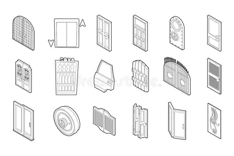 Sistema del icono de la puerta, estilo del esquema ilustración del vector
