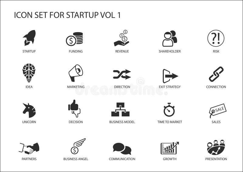 Sistema del icono de la puesta en marcha del negocio Símbolos del vector para las diversas situaciones de negocio stock de ilustración