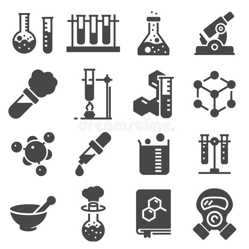 Sistema del icono de la química Colección de iconos de la silueta de la ciencia libre illustration
