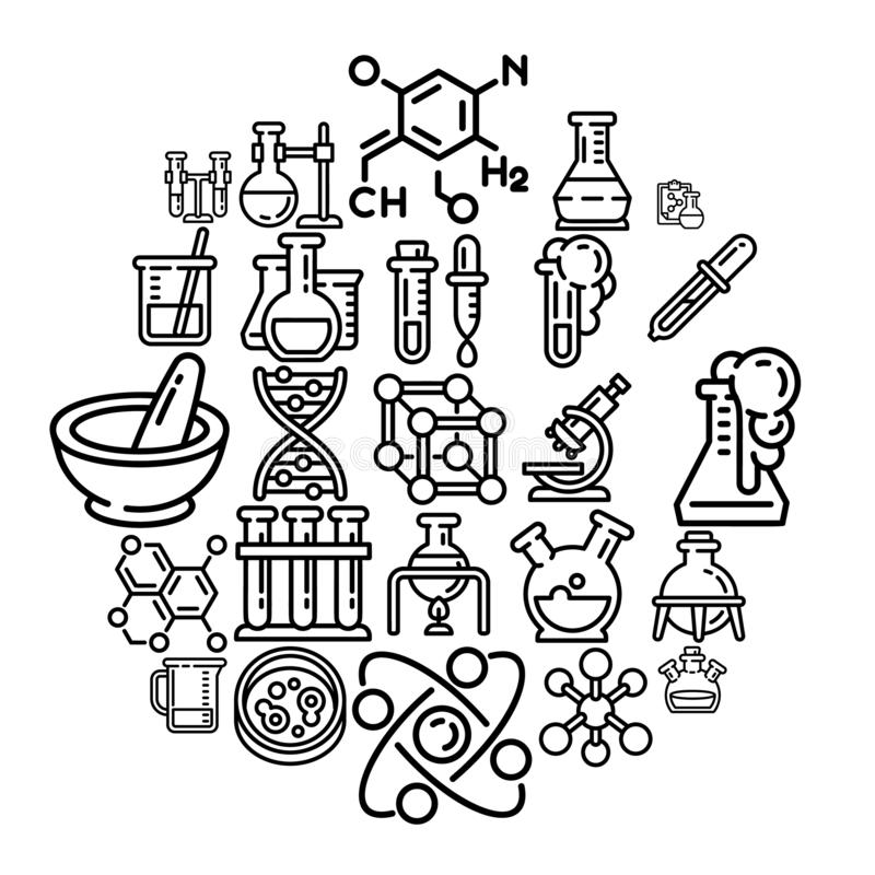 Sistema del icono de la química, estilo del esquema stock de ilustración