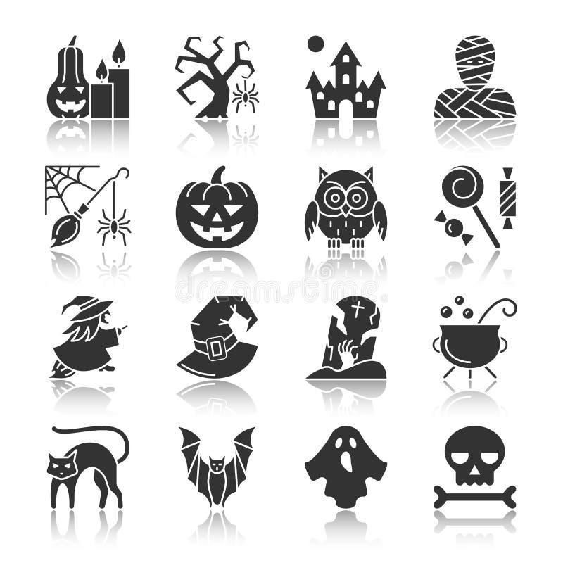 Sistema del icono de la reflexión de la silueta del negro de Halloween libre illustration