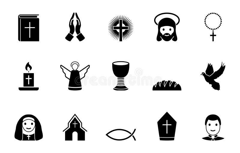 Sistema del icono de la religión stock de ilustración