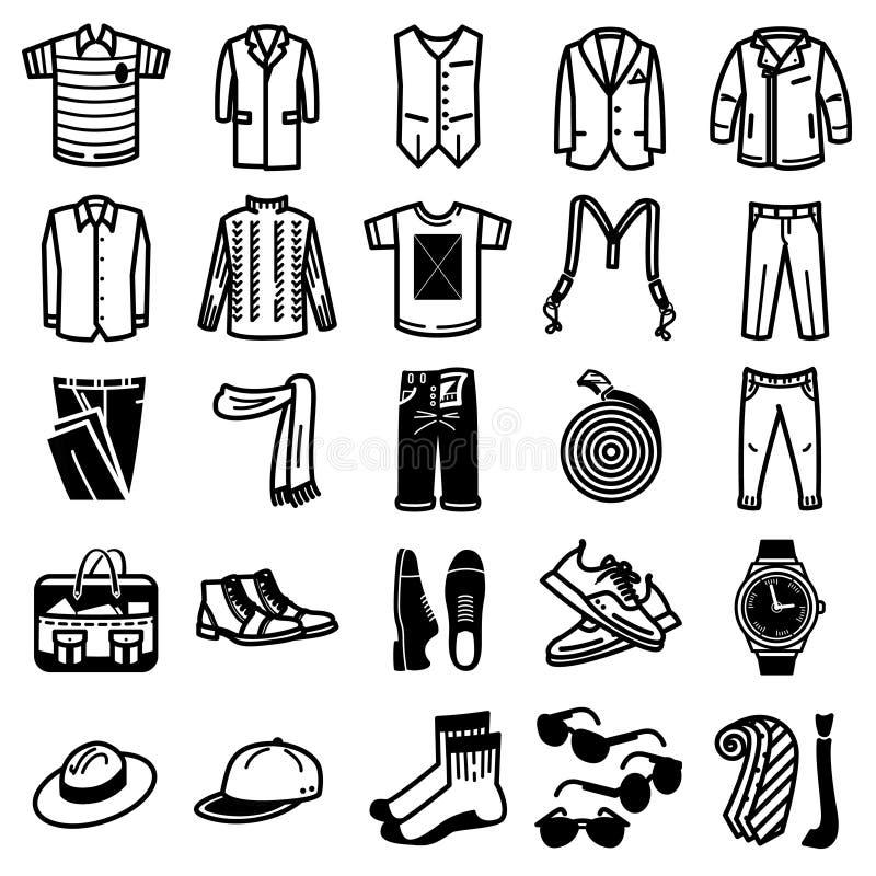 Sistema del icono de la ropa y de los accesorios del hombre ilustración del vector