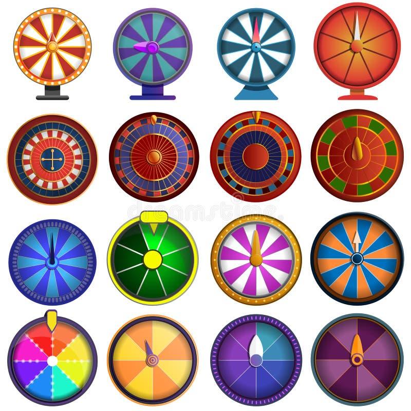 Sistema del icono de la ruleta, estilo de la historieta ilustración del vector