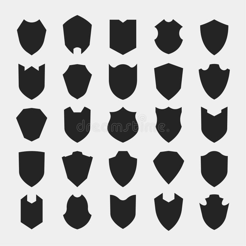 Sistema del icono de la silueta de los escudos fotos de archivo