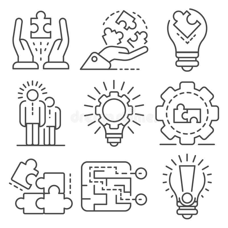 Sistema del icono de la solución, estilo del esquema stock de ilustración