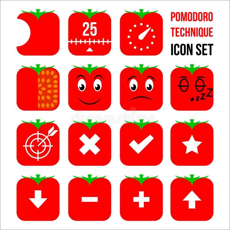 Sistema del icono de la técnica de Pomodoro imagen de archivo libre de regalías