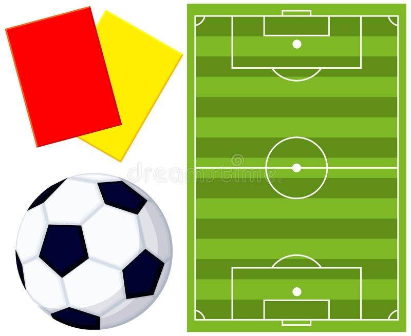 Sistema del icono de la tarjeta del árbitro del campo de balón de fútbol de Colorfull stock de ilustración