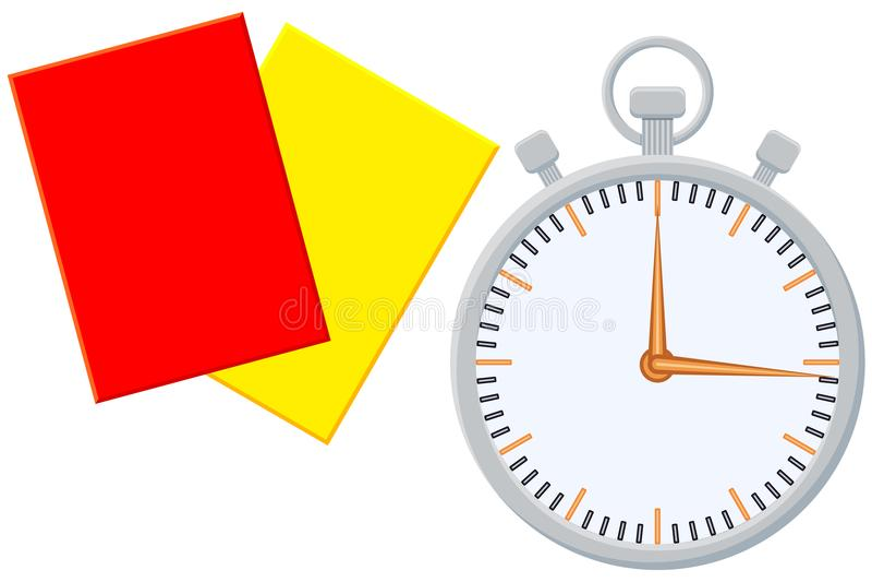 Sistema del icono de la tarjeta del árbitro del contador de tiempo del deporte de la historieta de Colorfull ilustración del vector